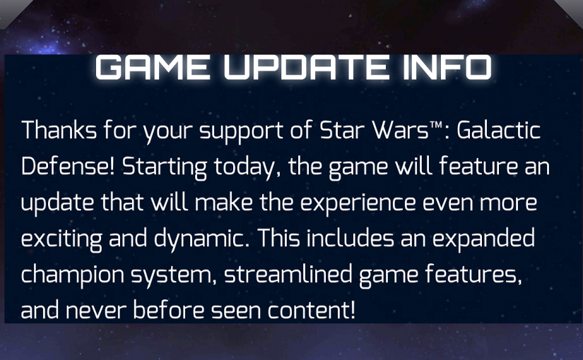 Star Wars Galactic Defense Update Is Finally Here!